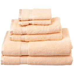 Superior 100% Egyptian Cotton Solid Bath Towel Set, Peach, 6