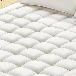 Mattress Pad Cover, 100% Cotton Fabric, Microfiber Filled, S