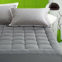 Luxury Deep Pocket Mattress Pad Fitted Quilted Topper 300TC