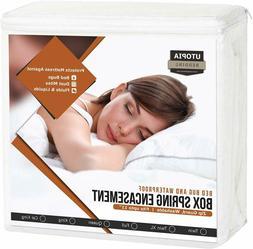 Matress Protector Box Spring Encasement Zippered Cover Pad B