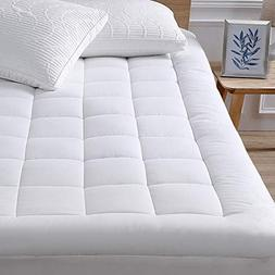 oaskys Queen Mattress Pad Cover Cotton Top with Stretches to