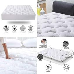 Mattress Pad King Size Fitted Mattress Topper Cotton Top Pil