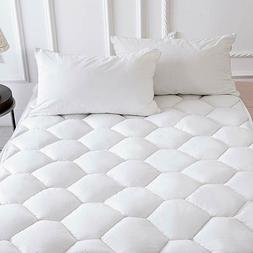 "Mattress Pad Topper Queen Size Overfilled Cotton Cover 18"" D"