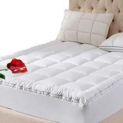 WhatsBedding Mattress Pad Twin Size 400TC Cotton Top 3M Wate