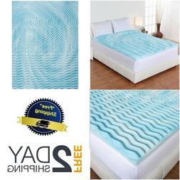 """Mattress Topper Gel Memory Foam 2"""" Orthopedic Pad Bed Cover"""