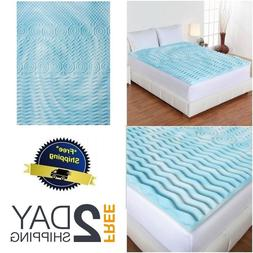 "Mattress Topper Gel Memory Foam 2"" Orthopedic Pad Bed Cover"