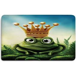 Memory Foam Bath Mat,King,Frog Prince on Moss Stone with Cro