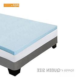 Memory Foam Mattress Topper 4 Inch Thick Cooling Gel - Queen