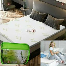 Bamboo Memory Foam UK Bed Mattress Topper Protector Orthoped