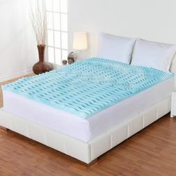 "Memory Foam Mattress Topper King Size Gel 2"" Thick Egg Crate"