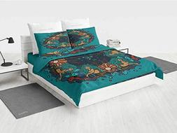 iPrint 4 Pc Duvet Cover Set - Mermaid,Pattern Ultra Soft Bed
