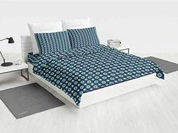 Navy Blue Decor vcny Bedding Set Cute Floral and Point Desig