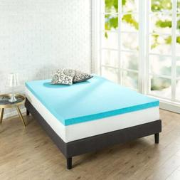 NEW Zinus 3 Inch Gel Memory Foam Mattress Topper, Twin FREE2