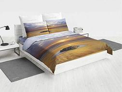 Ocean Decor King Bedding Set Reflection of The Sunset on The