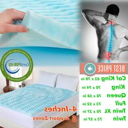 Orthopedic NON Memory Foam Mattress Topper 4 Inch Pad Bed Co