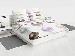 Pearls Lavender Bedding Set Graphic Round and Smooth Shapes