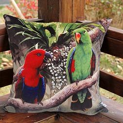 MeMoreCool Pillow Cover Parrot Patterns No Filler 20 X 20 In