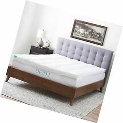 LUCID Plush Down Alternative Fiber Bed Topper - Allergen Fre