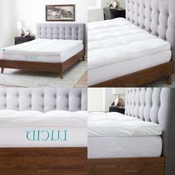 LUCID Plush Down Alternative Fiber Bed Topper-Allergen Free,