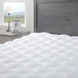eLuxurySupply Pressure Relief Mattress Pad with Fitted Skirt