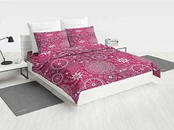 Purple Mandala White Bedding Sets Bohemian Stylized Vintage