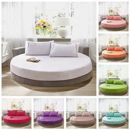 Round Fitted Coverlet Cotton Bed Sheet Bedspread Mattress To