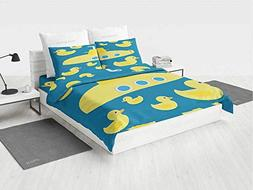 Rubber Duck Marvel Bedding Set Duckies Swimming in The Sea w