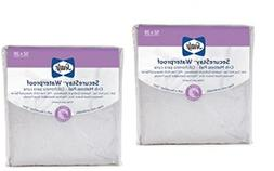 Pack of 2 Sealy Secure Stay Waterproof Crib Mattress Pad