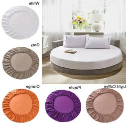 Solid Color 100% Cotton Round Fitted Sheet Bed Cover Mattres