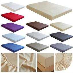 Solid Color 100% Polyester Satin Fitted Sheet Bed Cover Matt