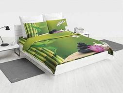 Spa Decor Mint Bedding Set Bamboo Flower Stone Wax on The Ta