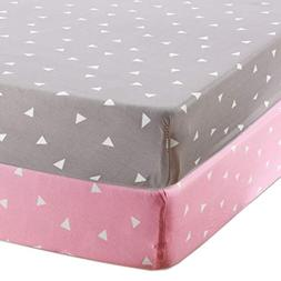 BROLEX Stretchy Fitted Crib Sheets Set-Brolex 2 Pack Portabl