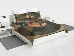 Sugar Skull Decor MSU Bedding Set Antique Portrait Girl with