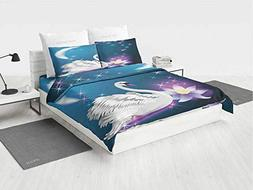 Swan Navy Blue Bedding Sets Queen Magic Lily and Fairy Swan