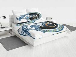 Taurus NBA Bedding Set Twin Zodiac Bull with Celestial Spiri