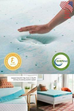 TWIN 4 Inch Blue Swirl Gel Memory Foam Mattress Topper Bed V