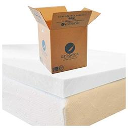 Full Size Memory Foam Mattress Topper, 2 Inch Thick Superior