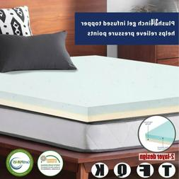 Upgrade 2,3,4 Inch Cooling Gel Memory Foam Mattress Topper -