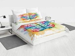 Watercolor owl Twin Bedding Set Vibrant Colorful Human Brain