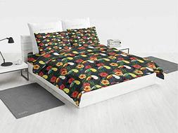 Watercolor Yellow Bedding Set Toucan Birds and Hibiscus Flow