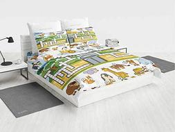Word Search Puzzle Pony Bedding Set Zoo Themed Education Gam
