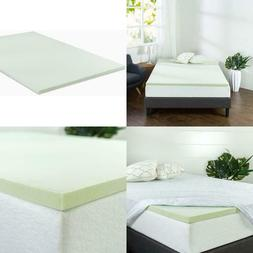 Zinus 1.5 Inch Green Tea Memory Foam Mattress Topper / Green