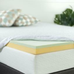 Zinus 2 Inch Green Tea Memory Foam Mattress Topper, Short Qu