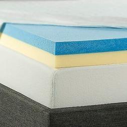 Zinus 4 Inch Gel Memory Foam Mattress Topper, Queen, Blue