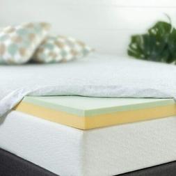Zinus 4 Inch Green Tea Memory Foam Mattress Topper / Green T